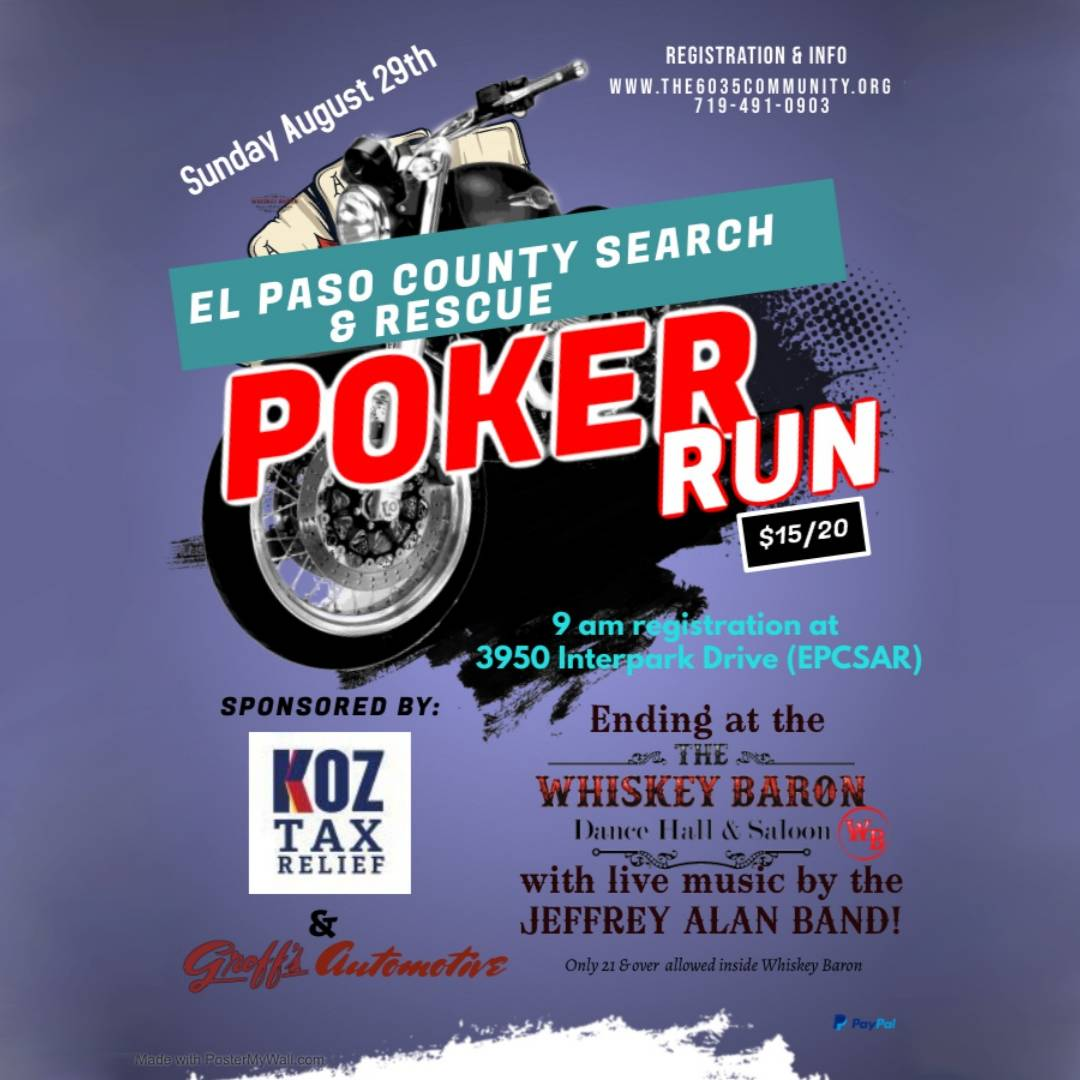 El Paso County Poker Run Event at the Whiskey Baron Dance Hall & Saloon August 29th, 2021
