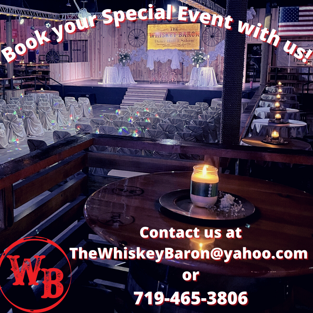 Hold and celebrate your wedding, special event, birthday, or party at the Whiskey Baron Dance Hall & Saloon event venue in Colorado Springs